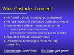 what obstacles loomed
