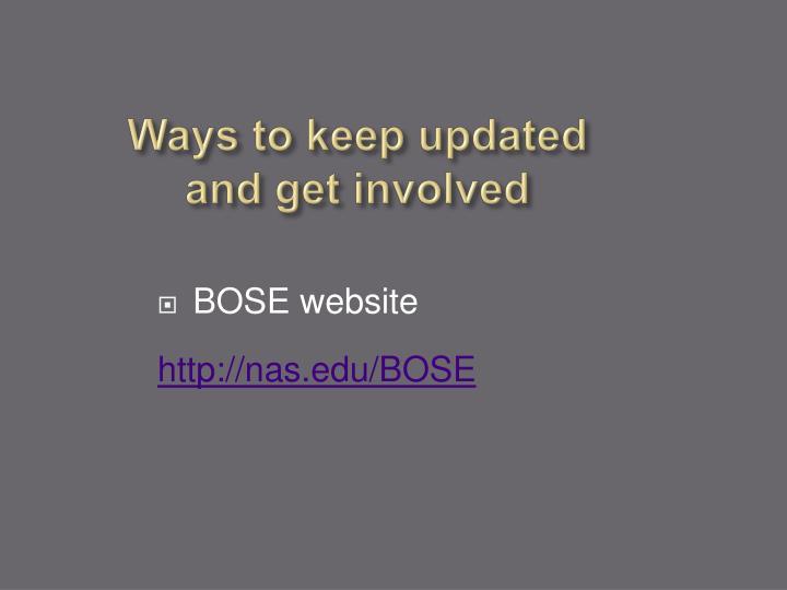 Ways to keep updated