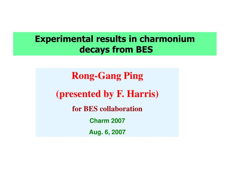 Experimental results in charmonium