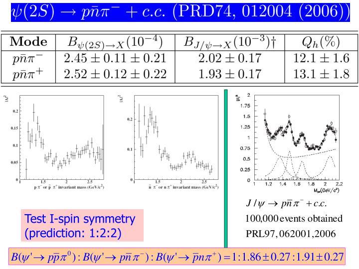 Test I-spin symmetry