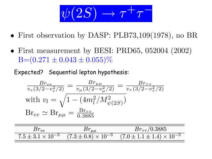 Expected?   Sequential lepton hypothesis:
