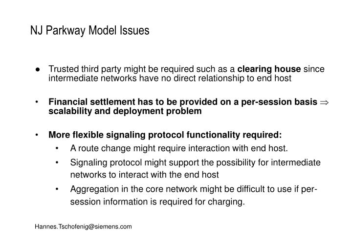 NJ Parkway Model Issues