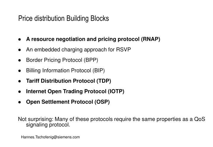 Price distribution Building Blocks