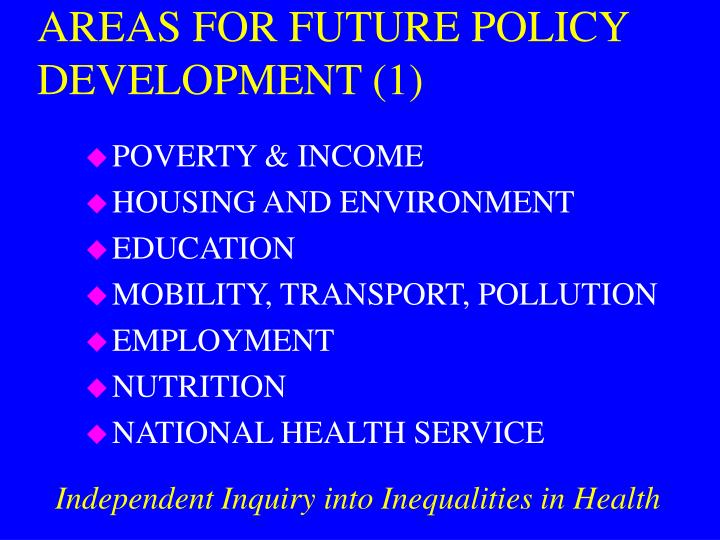 AREAS FOR FUTURE POLICY DEVELOPMENT (1)