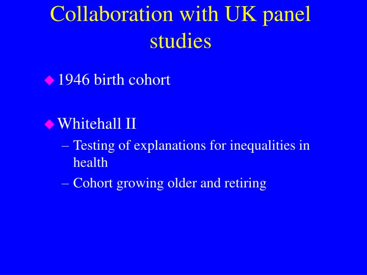 Collaboration with UK panel studies