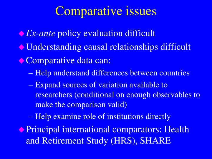 Comparative issues