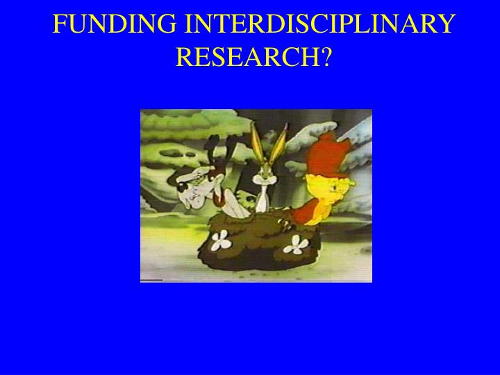 FUNDING INTERDISCIPLINARY RESEARCH?