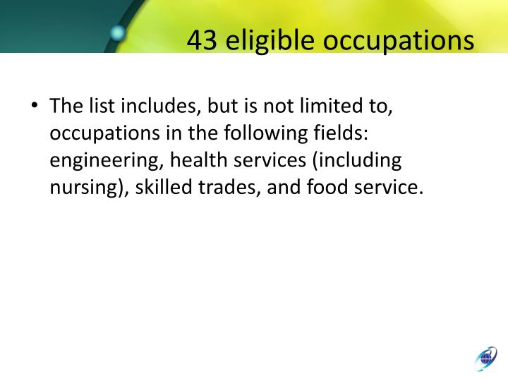 43 eligible occupations