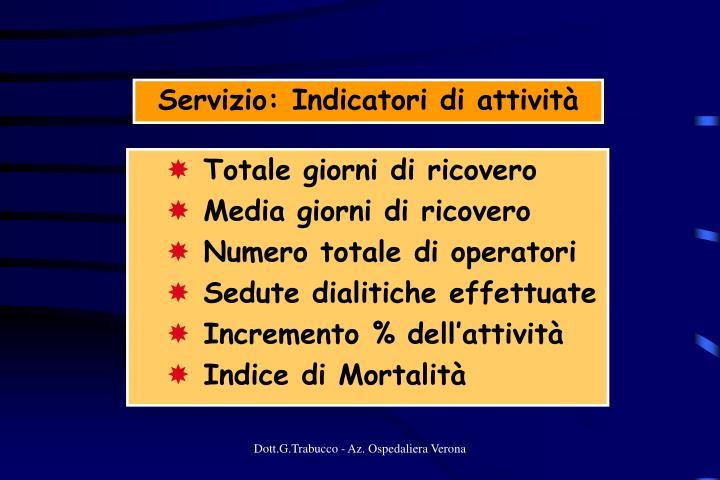 Servizio: Indicatori di attività