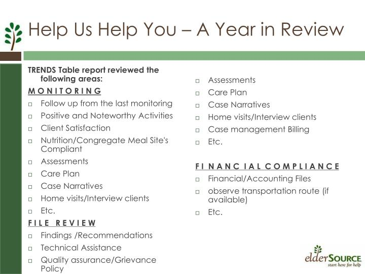 TRENDS Table report reviewed the following areas: