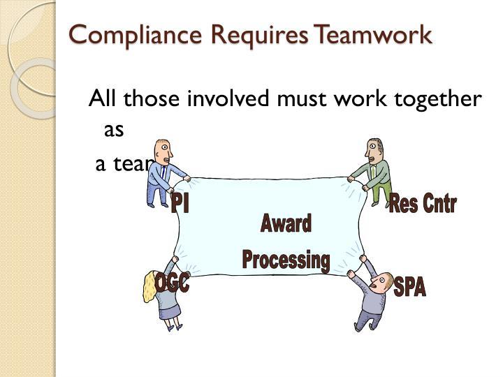 Compliance Requires Teamwork