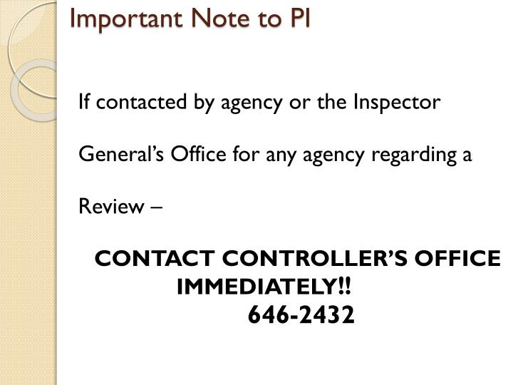 Important Note to PI