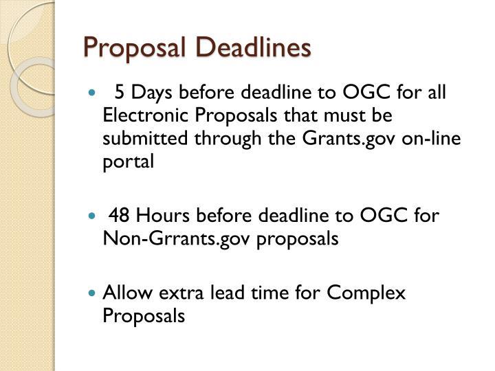 Proposal Deadlines