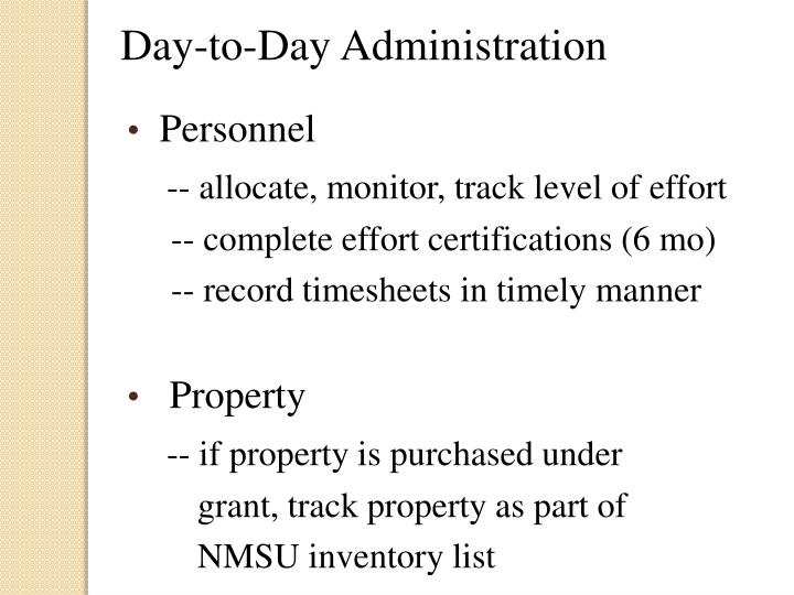 Day-to-Day Administration
