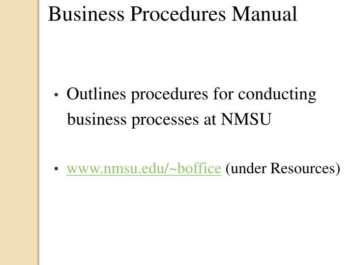 Business Procedures Manual