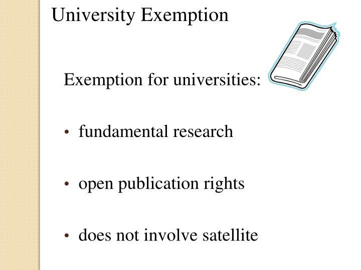 University Exemption