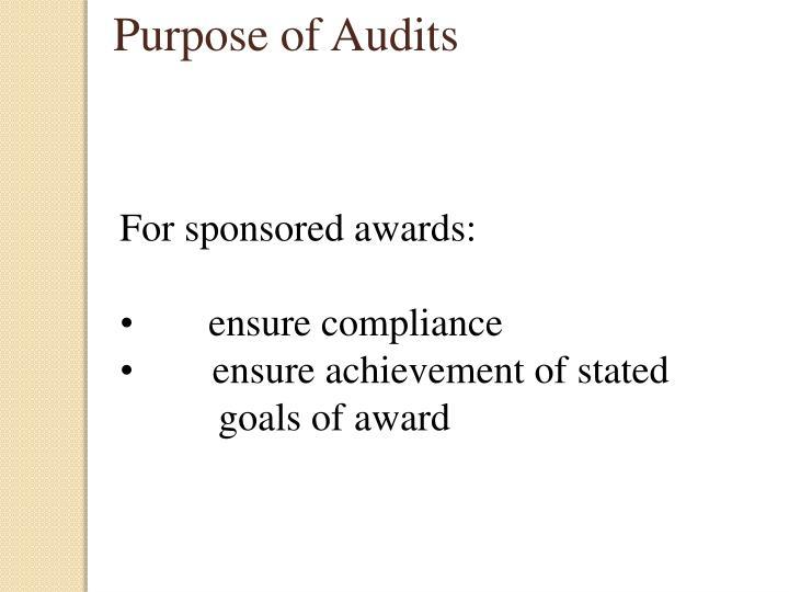 Purpose of Audits