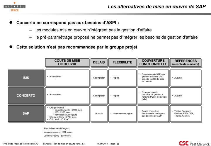 Les alternatives de mise en œuvre de SAP