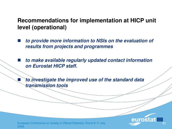 Recommendations for implementation at HICP unit level (operational)