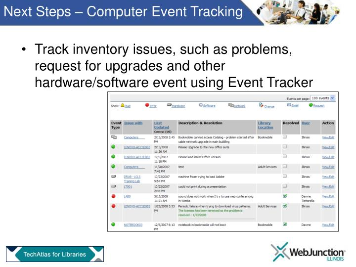 Next Steps – Computer Event Tracking
