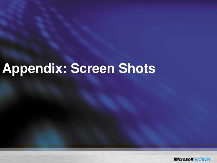 Appendix: Screen Shots