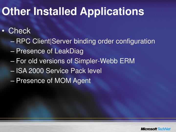 Other Installed Applications