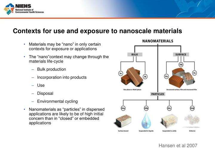 Contexts for use and exposure to nanoscale materials