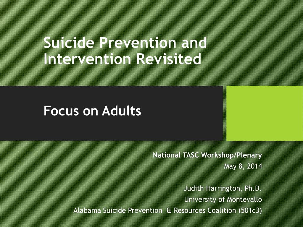 ppt suicide prevention and intervention revisited focus on adults rh slideserve com