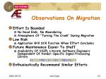 observations on migration