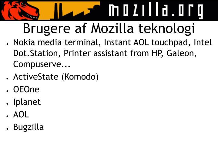 Brugere af Mozilla teknologi