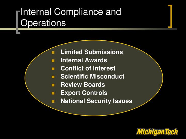 Internal Compliance and Operations