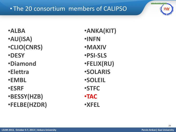 The 20 consortium  members of CALIPSO