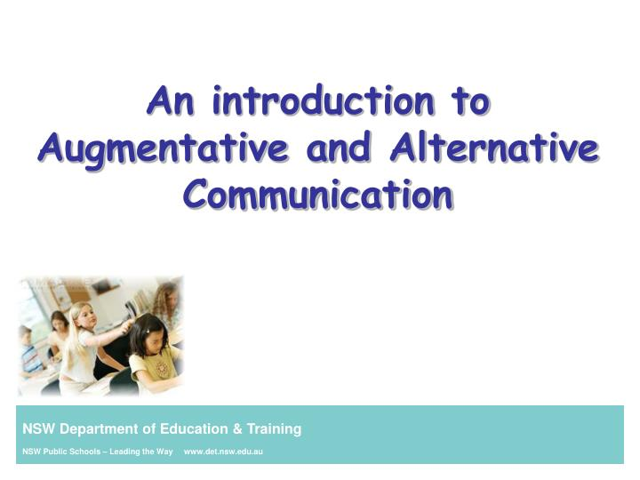 an introduction to augmentative and alternative communication n.
