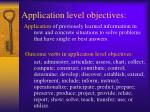 application level objectives