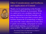 other considerations and synthesis and application of content