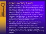 unique learning needs