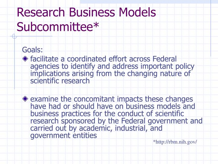 Research business models subcommittee