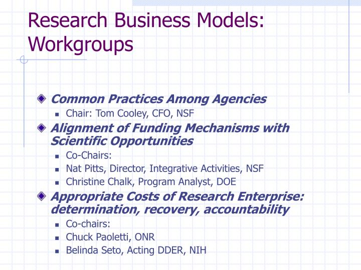 Research business models workgroups