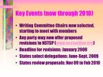 key events now through 2010