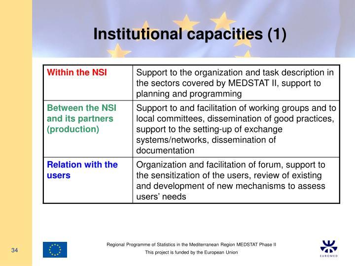 Institutional capacities