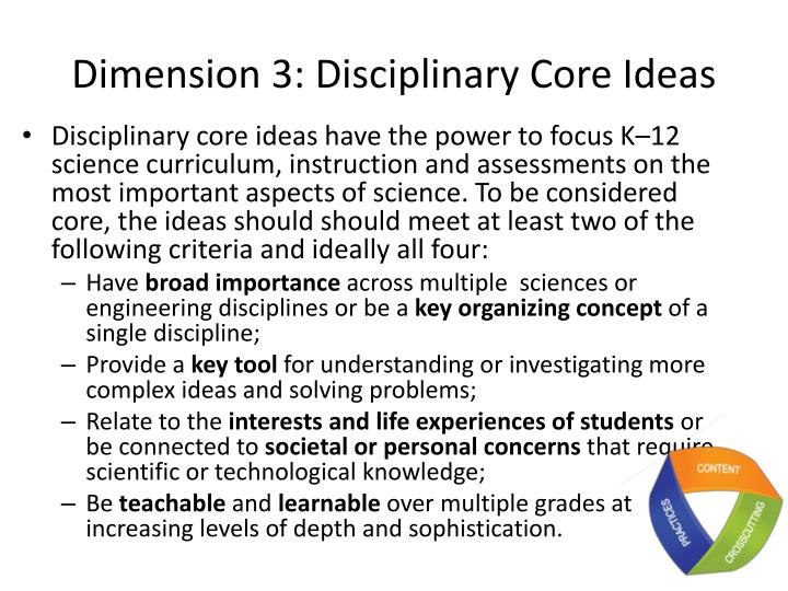 Dimension 3: Disciplinary Core Ideas