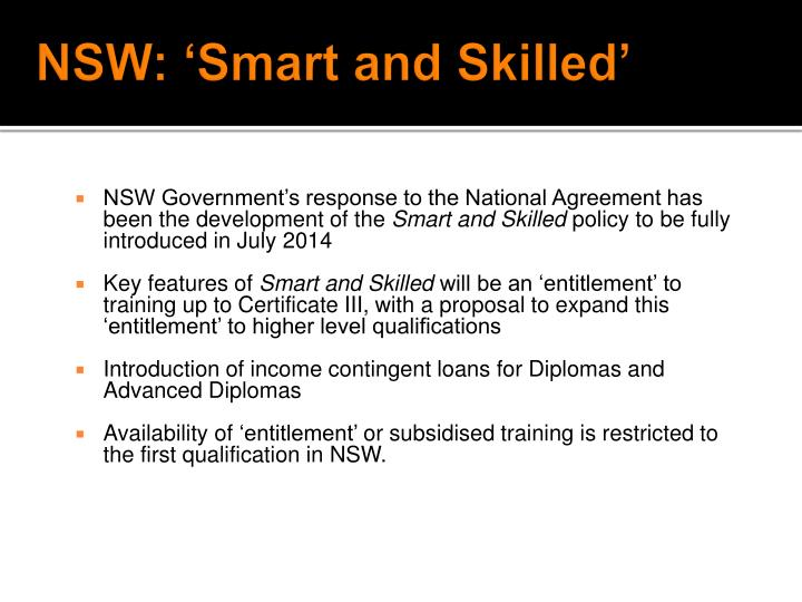 NSW: 'Smart and Skilled'