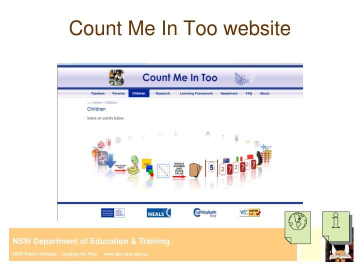 Count Me In Too website