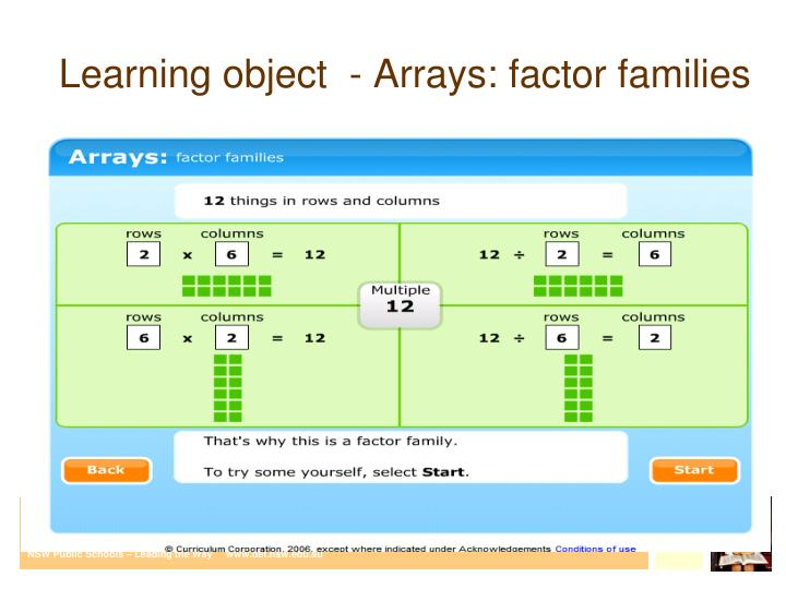 Learning object  - Arrays: factor families