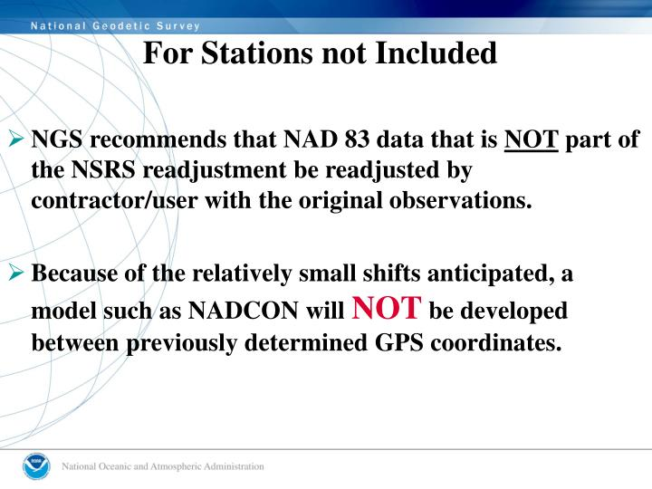 For Stations not Included