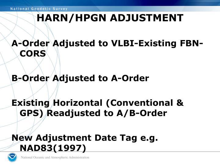 HARN/HPGN ADJUSTMENT