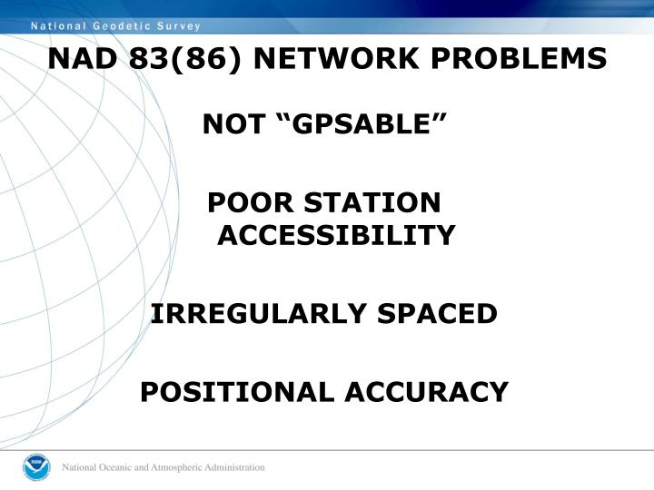 NAD 83(86) NETWORK PROBLEMS