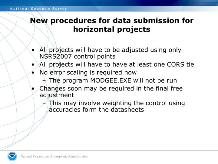 New procedures for data submission for horizontal projects