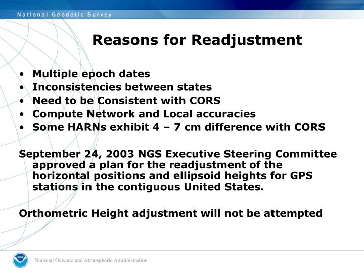 Reasons for Readjustment