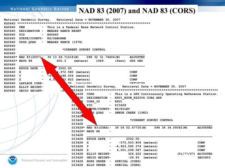 NAD 83 (2007) and NAD 83 (CORS)